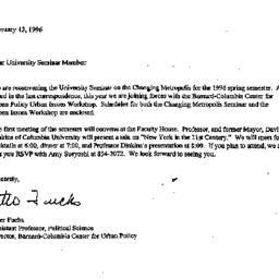 Announcements, 1996-02-13. ...