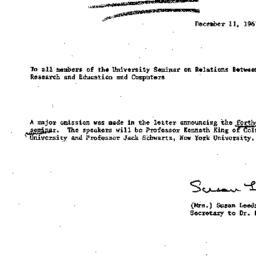 Announcements, 1967-12-11. ...