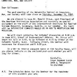 Announcements, 1982-12-03. ...