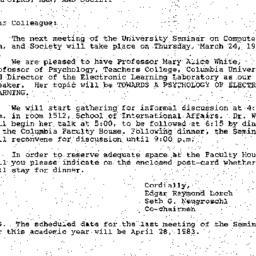 Announcements, 1983-03-25. ...