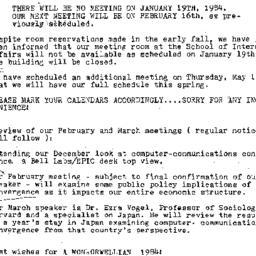 Announcements, 1984-01-03. ...