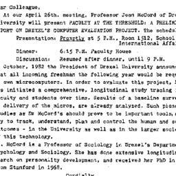 Announcements, 1984-04-16. ...