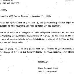 Announcements, 1983-11-29. ...