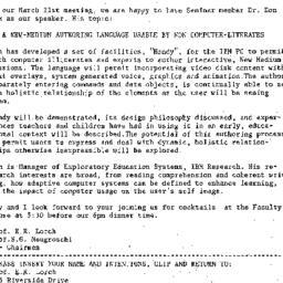 Announcements, 1985-03-08. ...