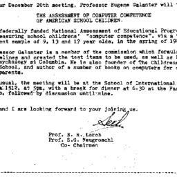 Announcements, 1984-12-06. ...