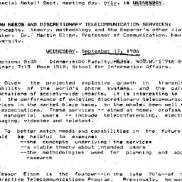 Announcements, 1986-09-17. ...