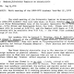 Announcements, 1970-05-08. ...