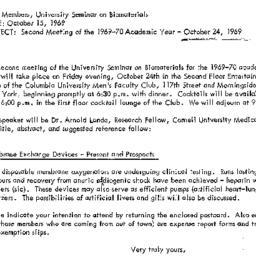 Announcements, 1969-10-15. ...