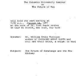 Announcements, 1977-01-14. ...
