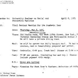 Announcements, 1971-05-06. ...