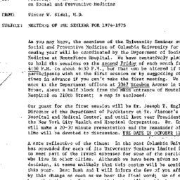 Announcements, 1974-09-18. ...