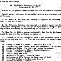 Minutes, 1971-05-05. Death,...