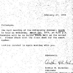 Announcements, 1974-02-27. ...