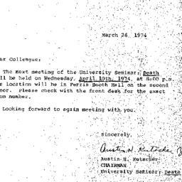 Announcements, 1974-03-26. ...