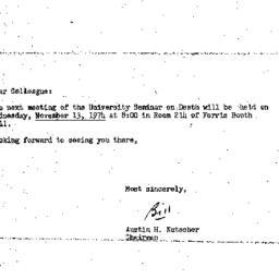 Announcements, 1974-11-13. ...