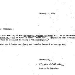 Announcements, 1976-01-02. ...