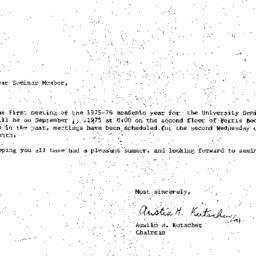 Announcements, 1975-09-10. ...