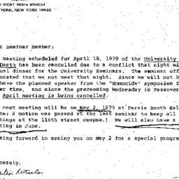 Announcements, 1979-05-02. ...
