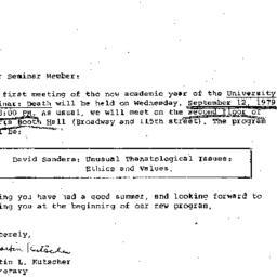 Announcements, 1979-09-12. ...