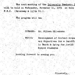 Announcements, 1981-11-11. ...