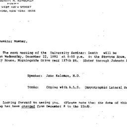 Announcements, 1982-12-22. ...
