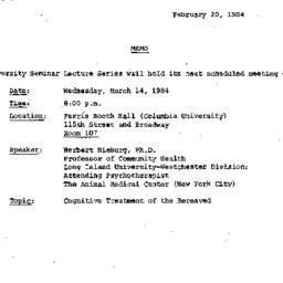 Announcements, 1984-02-20. ...
