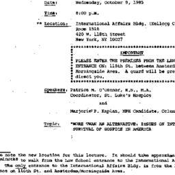 Announcements, 1985-09-26. ...