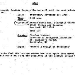 Announcements, 1985-10-31. ...