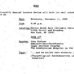 Announcements, 1985-12-03. ...