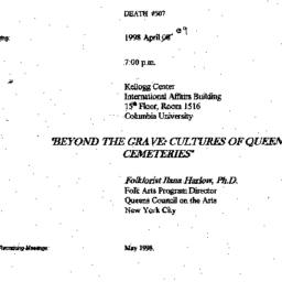 Announcements, 1998-04-09. ...