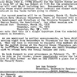 Announcements, 1973-02-15. ...
