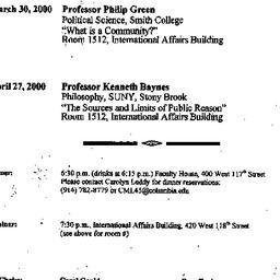Announcements, 2000-03-30. ...