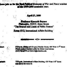Announcements, 2000-04-27. ...