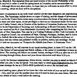 Announcements, 2001-03-06. ...
