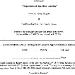 Announcements, 2001-03-15. ...