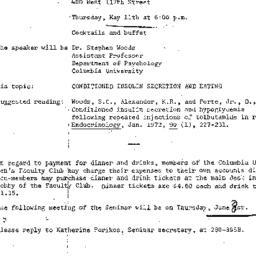 Announcements, 1972-05-11. ...