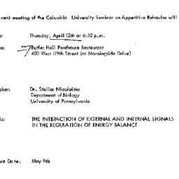 Announcements, 1973-04-12. ...