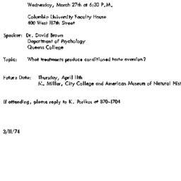 Announcements, 1974-03-27. ...
