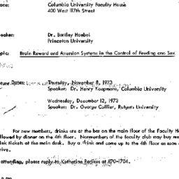 Announcements, 1973-10-11. ...