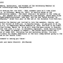 Announcements, 2001-03-07. ...