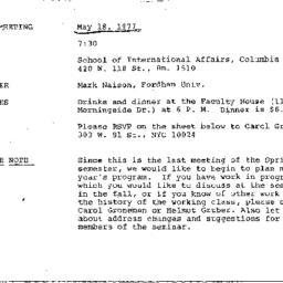 Announcements, 1977-05-18. ...