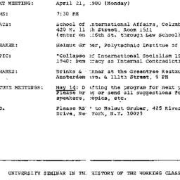 Announcements, 1980-04-21. ...