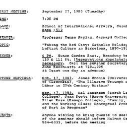 Announcements, 1983-09-27. ...