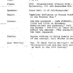 Announcements, 1986-11-18. ...