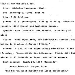 Announcements, 1990-02-22. ...