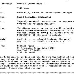 Announcements, 1995-02-20. ...