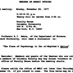 Announcements, 1977-11-28. ...