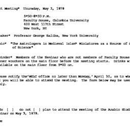 Announcements, 1979-05-03. ...