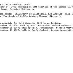 Announcements, 2000-10-17. ...