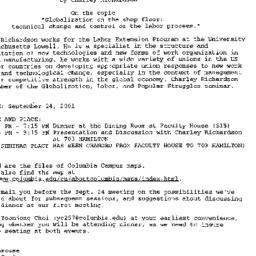 Announcements, 2001-09-05. ...